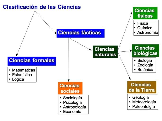 clasificacion de la ciencia: ciencias formales y ciencias facticas, ciencias naturales y sociales