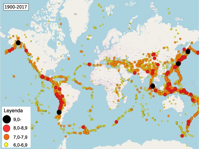Mapa de terremotos desde 1900 hasta 2017