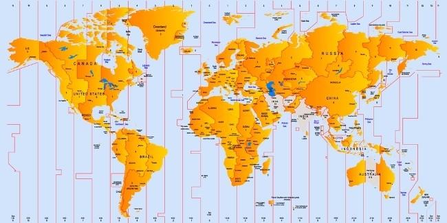 husos horarios, planisferio