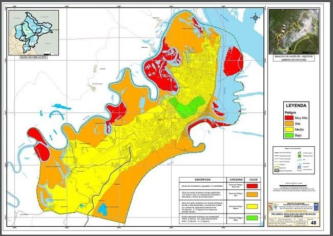 mapa de riesgos de la ciudad de Iquitos, Perú