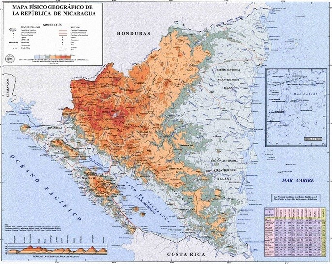 mapa geográfuco de Nicaragua