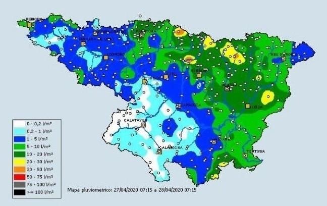 Mapa pluviométrico