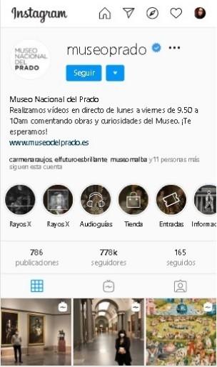 texto multimodal-página de inicio del museo del prado en Instagram