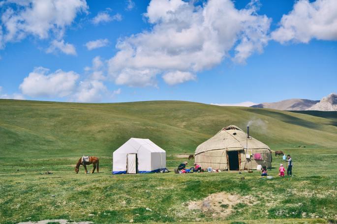 yurta, vivienda de grupos nómadas asiáticos